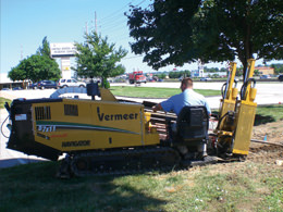 Directional Boring installs pipe under driveways, streets, and parking lots